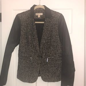 Michael Kors Tweed and Leather Blazer